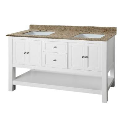 Gazette 61 in. W x 22 in. D Double Vanity in White with Granite Vanity Top in Ornamental Giallo and White Basins