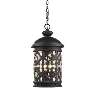 Tuscany Coast 3-Light Weathered Charcoal Outdoor Pendant