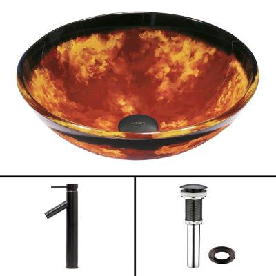 Glass Vessel Sink in Auburn/Mocha Fusion and Dior Faucet Set in Antique Rubbed Bronze