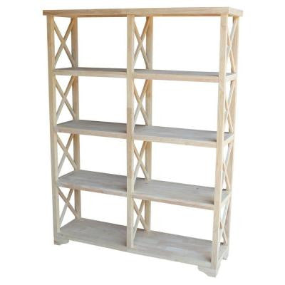 Hampton 8-Shelf Double Bookcase in Unfinished Wood