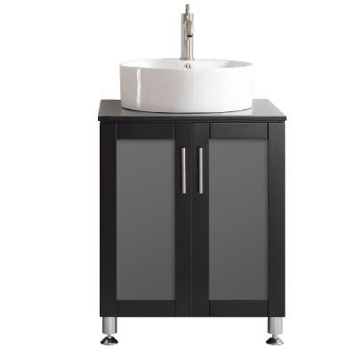 Tuscany 24 in. W x 22 in. D x 30 in. H Vanity in Espresso with Glass Vanity Top in Black with Basin