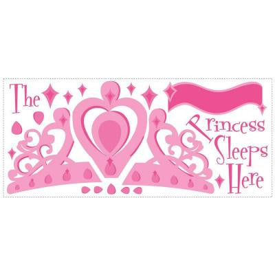 16 in. x 30 in. Princess Sleeps Here Peel and Stick Giant Wall Decal with Personalization