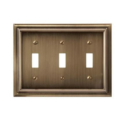 Continental 3 Toggle Wall Plate - Brushed Brass