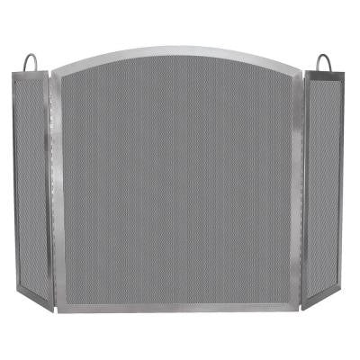 Stainless Steel 3-Panel Fireplace Screen with Handles