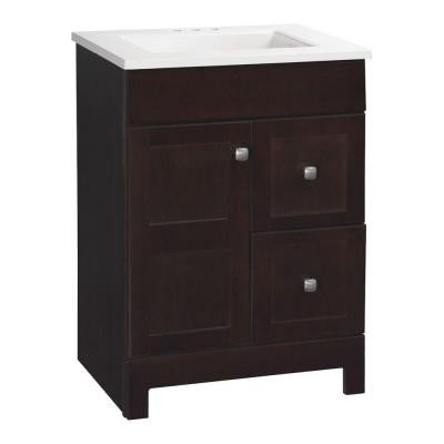 Artisan 24-1/2 in. W x 19 in. D Vanity in Java with Cultured Marble Vanity Top in White