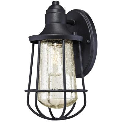Elias Textured Black Outdoor Wall Lantern