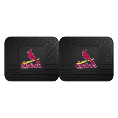 MLB St. Louis Cardinals Black Heavy Duty 2-Piece 14 in. x 17 in. Vinyl Utility Mat