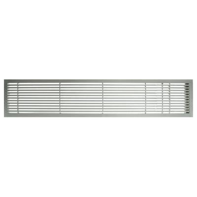 AG20 Series 6 in. x 48 in. Solid Aluminum Fixed Bar Supply/Return Air Vent Grille, Brushed Satin with Right Door