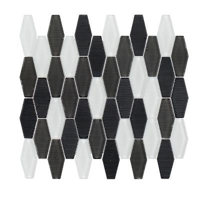 Carbon Blend Hex 10-1/4 in. x 11-1/8 in. x 8 mm Glass Mosaic Tile