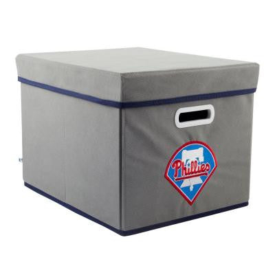MLB STACKITS Philadelphia Phillies 12 in. x 10 in. x 15 in. Stackable Grey Fabric Storage Cube