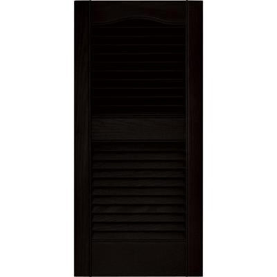 15 in. x 31 in. Louvered Vinyl Exterior Shutters Pair in #002 Black
