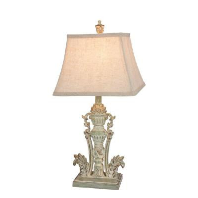 30 in. Antique Green Resin Table Lamp