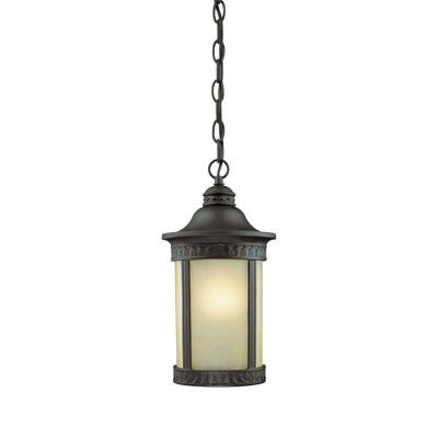 1-Light Textured Black on Cast Aluminum Exterior Pendant with Amber Seeded Glass