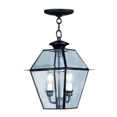 Providence 2-Light Hanging Outdoor Black Incandescent Lantern