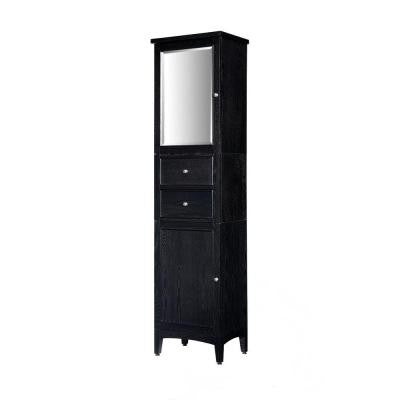 Kent 19 in. W x 75 in. H Tall Linen Tower in Brown Ebony