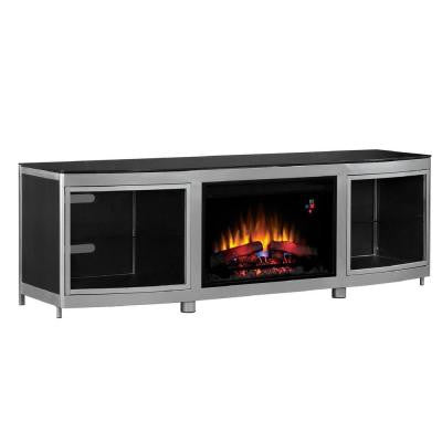 Gotham 72 in. Media Mantel Electric Fireplace in Silver Powder Coated Finish