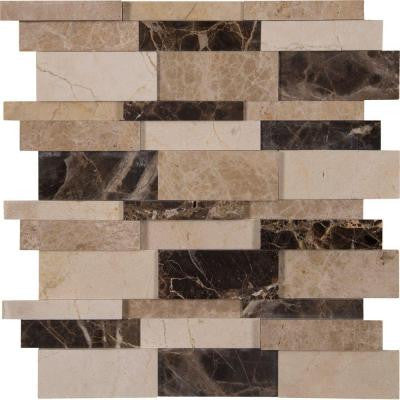 Asteria Blend 3D 12 in. x 12 in. x 10 mm Polished Marble Mesh-Mounted Mosaic Tile (10 sq. ft. / case)