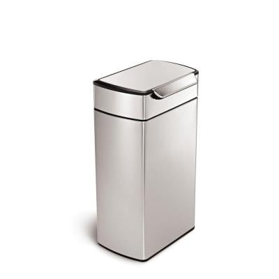 40 l Fingerprint-Proof Brushed Stainless Steel Touch Bar Trash Can