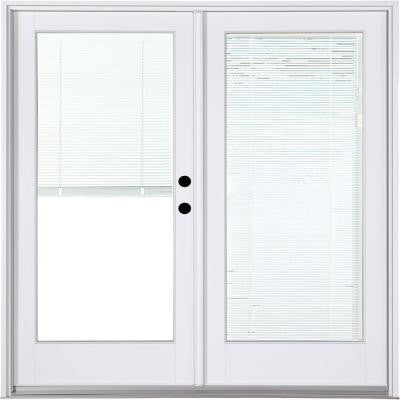 59-1/4 in. x 79-1/2 in. Composite White Left-Hand Inswing Hinged Patio Door with Blinds Between Glass