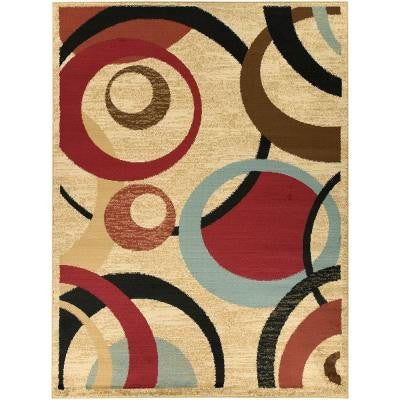 Contemporary Abstract Beige 7 ft. 10 in. x 9 ft. 10 in. Area Rug