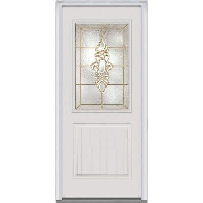 36 in. x 80 in. Heirloom Master Decorative Glass 1/2 Lite 1-Panel Primed White Fiberglass Smooth Prehung Front Door