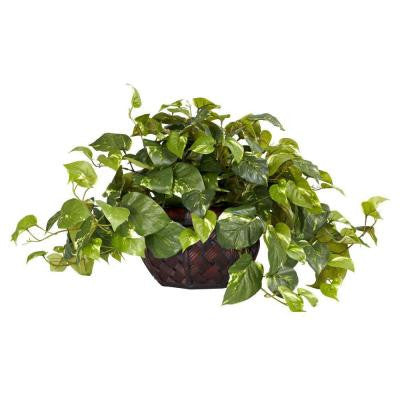 15 in. H Green Pothos with Decorative Vase Silk Plant
