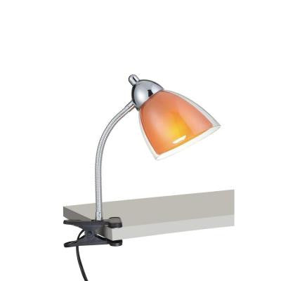 Designer Collection 12 in. Chrome Desk Lamp with Orange Acrylic Shade