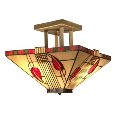 Henderson 2-Light Antique Brass Semi-Flush Mount Light with Art Glass Shade