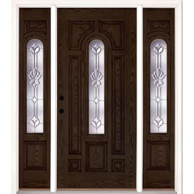 63.5 in. x 81.625 in. Medina Zinc Center Arch Lite Stained Walnut Oak Fiberglass Prehung Front Door with Sidelites