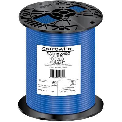 2500 ft. 10-Gauge Solid THHN Wire - Blue