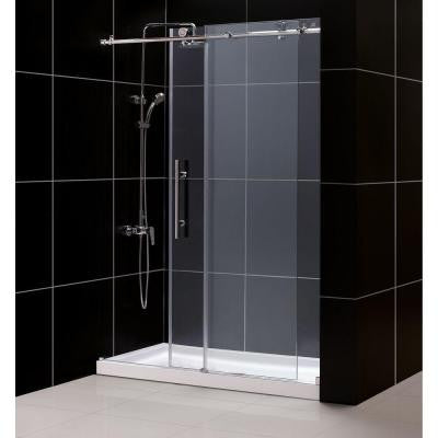Enigma-X 60 in. x 78-3/4 in. Frameless Sliding Shower Door in Brushed Stainless Steel with Center Drain Base