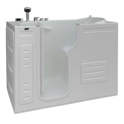 Aurora 4.27 ft. Left Drain Walk-In Heated Air Bath Tub in White