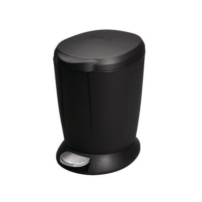 1.6 Gal. Black Round Step-On Trash Can