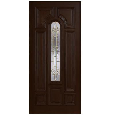 36 in. x 80 in. Mahogany Type Arch Glass Prefinished Espresso Beveled Brass Solid Wood Front Door Slab