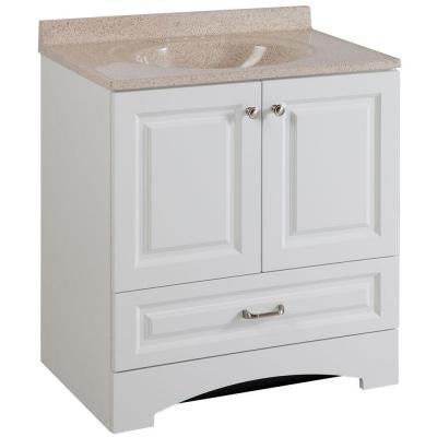 Lancaster 30 in. Vanity in White with Colorpoint Vanity Top in Maui