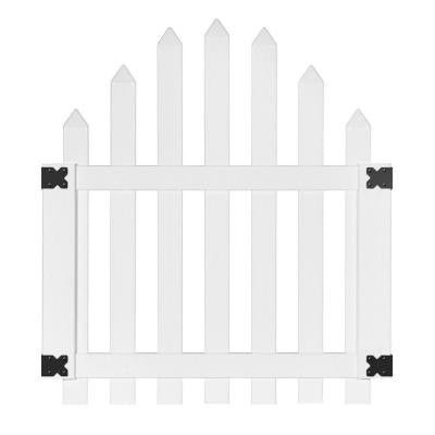 3.5 ft. x 4 ft. White Vinyl Glendale Arched Top Spaced Picket Fence Gate with 3 in. Pointed Pickets