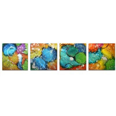 Brevium 12 in. x 50 in. Sunny Days Metal Wall Art (Set of 4)