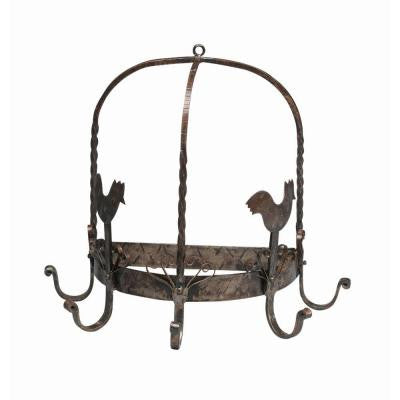 14 in. Two Chickens Kitchen Pot Rack