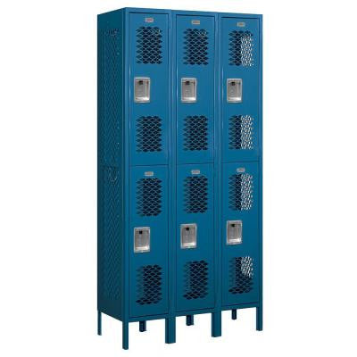 72000 Series 36 in. W x 78 in. H x 15 in. D Double Tier Vented Metal Locker Unassembled in Blue