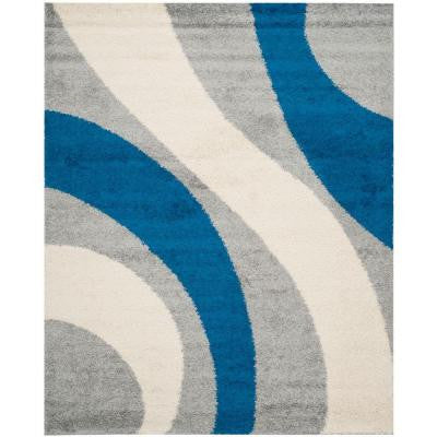 Shag Grey/Blue 9 ft. x 12 ft. Area Rug