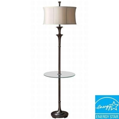 69 in. Bronze End Table with Lamp