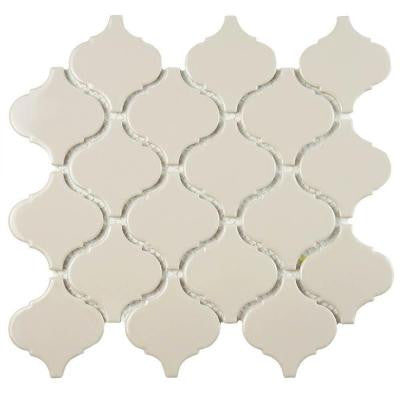 Metro Lantern Glossy Taupe Grey 9-3/4 in. x 10-1/4 in. x 6 mm Porcelain Mosaic Tile