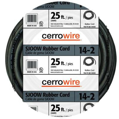 25 ft. 14/2-Gauge SJOOW Rubber Cord - Black