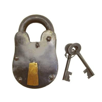 Decorative Metal Bolt 2 in. H Lock and Keys