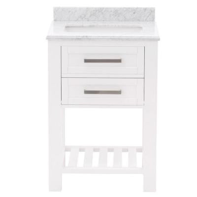 Paige 24 in. Vanity in White with Marble Vanity Top in Carrara White