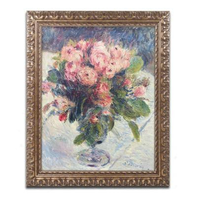 "20 in. x 16 in. ""Moss-Roses"" by Pierre-Auguste Renoir Framed Printed Canvas Wall Art"