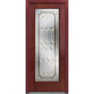 36 in. x 80 in. Majestic Elegance Decorative Glass Full Lite Finished Mahogany Fiberglass Prehung Front Door