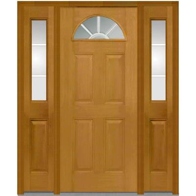 64 in. x 80 in. Classic Clear Glass GBG 1/4 Lite Finished Mahogany Fiberglass Prehung Front Door with Sidelites