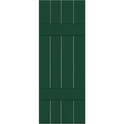 15 in. x 60 in. Exterior Real Wood Sapele Mahogany Board and Batten Shutters Pair Chrome Green