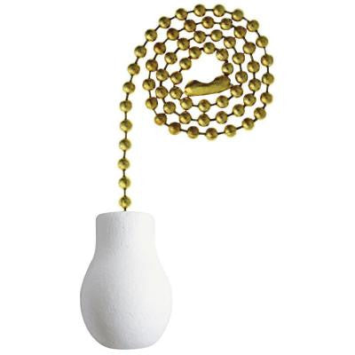 White Wooden Knob Pull Chain